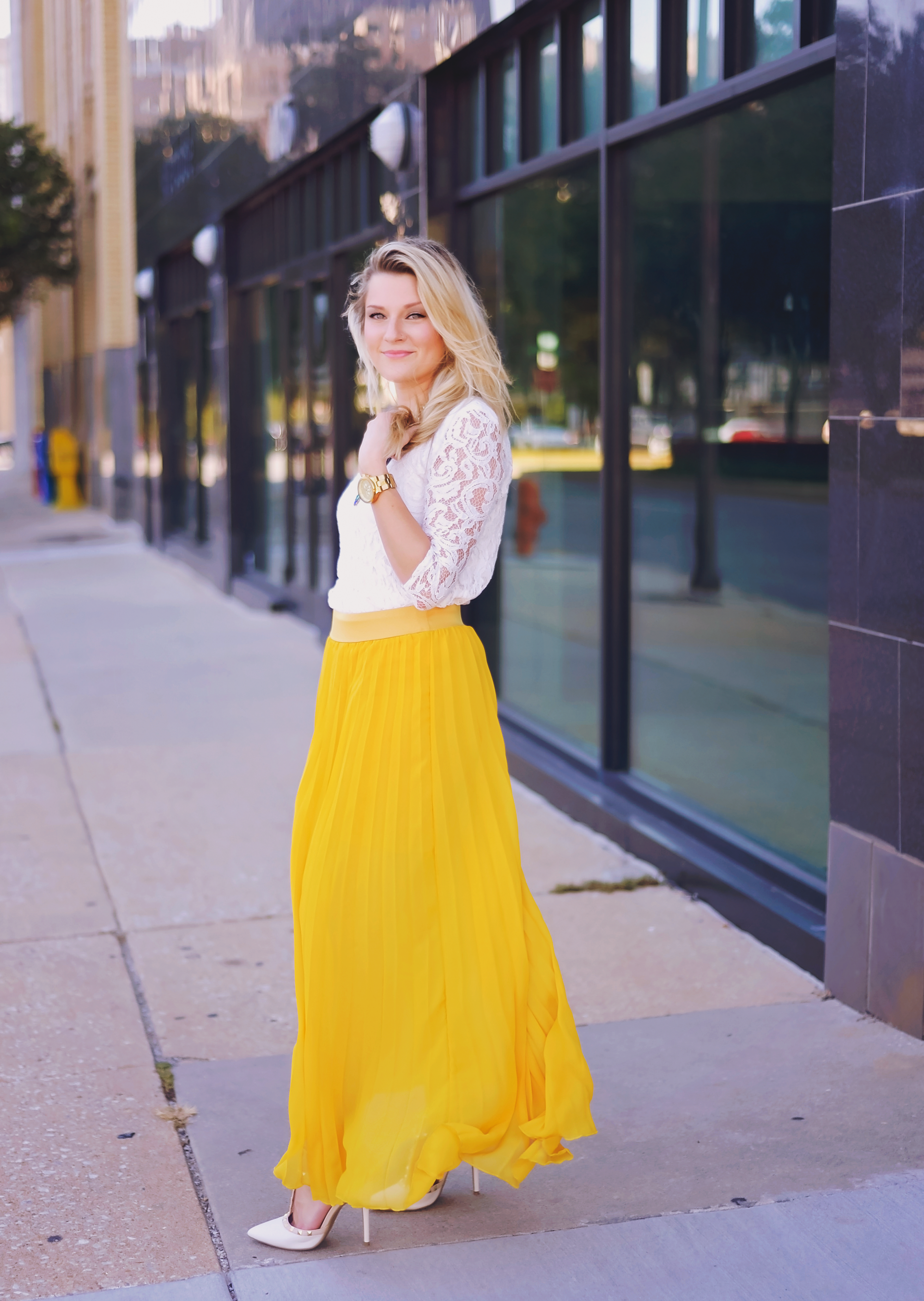 Yellow Pleated Maxi Skirt { The Chic Blonde } #OOTD