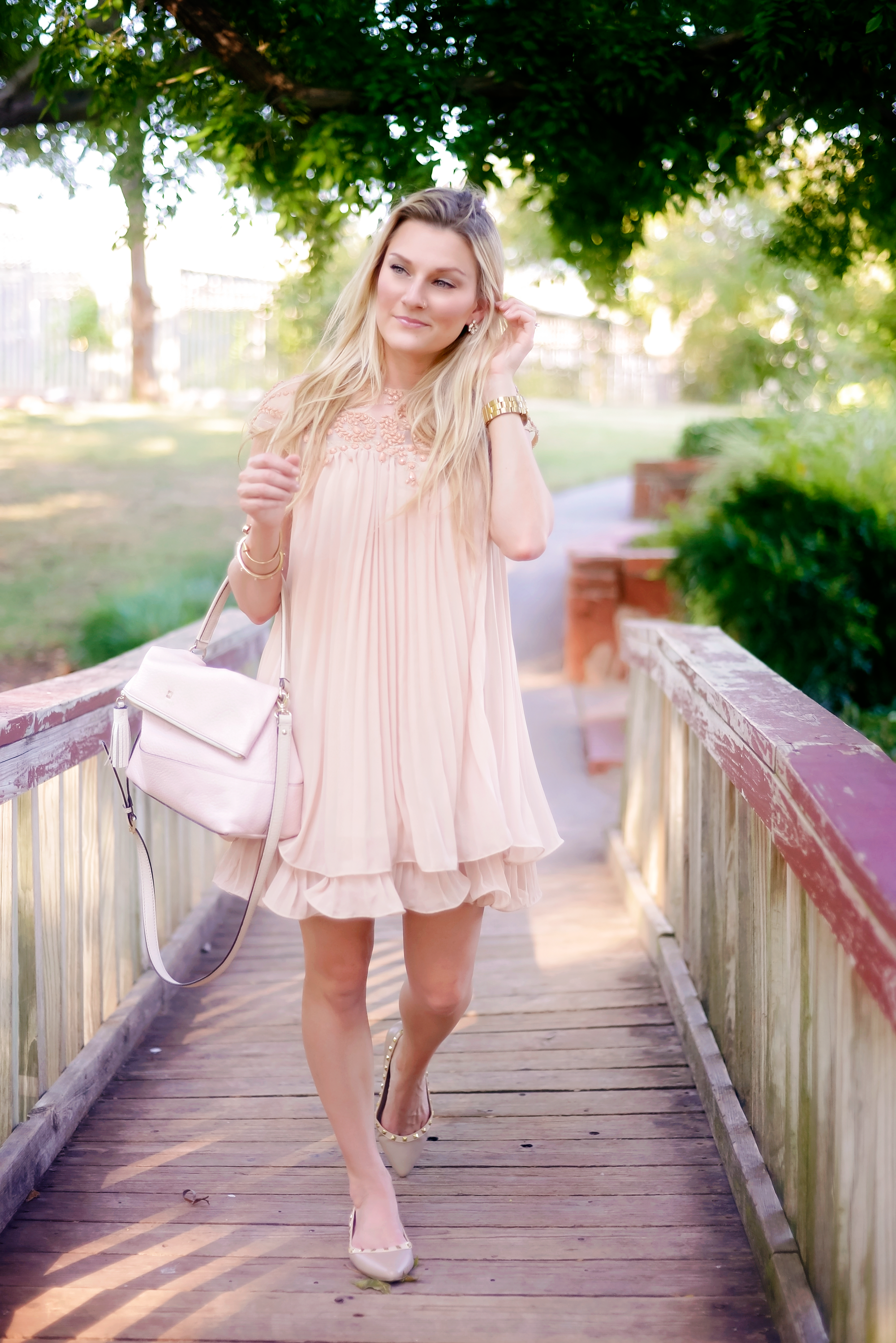 Blushing in Peach A  Darling Swing Dress