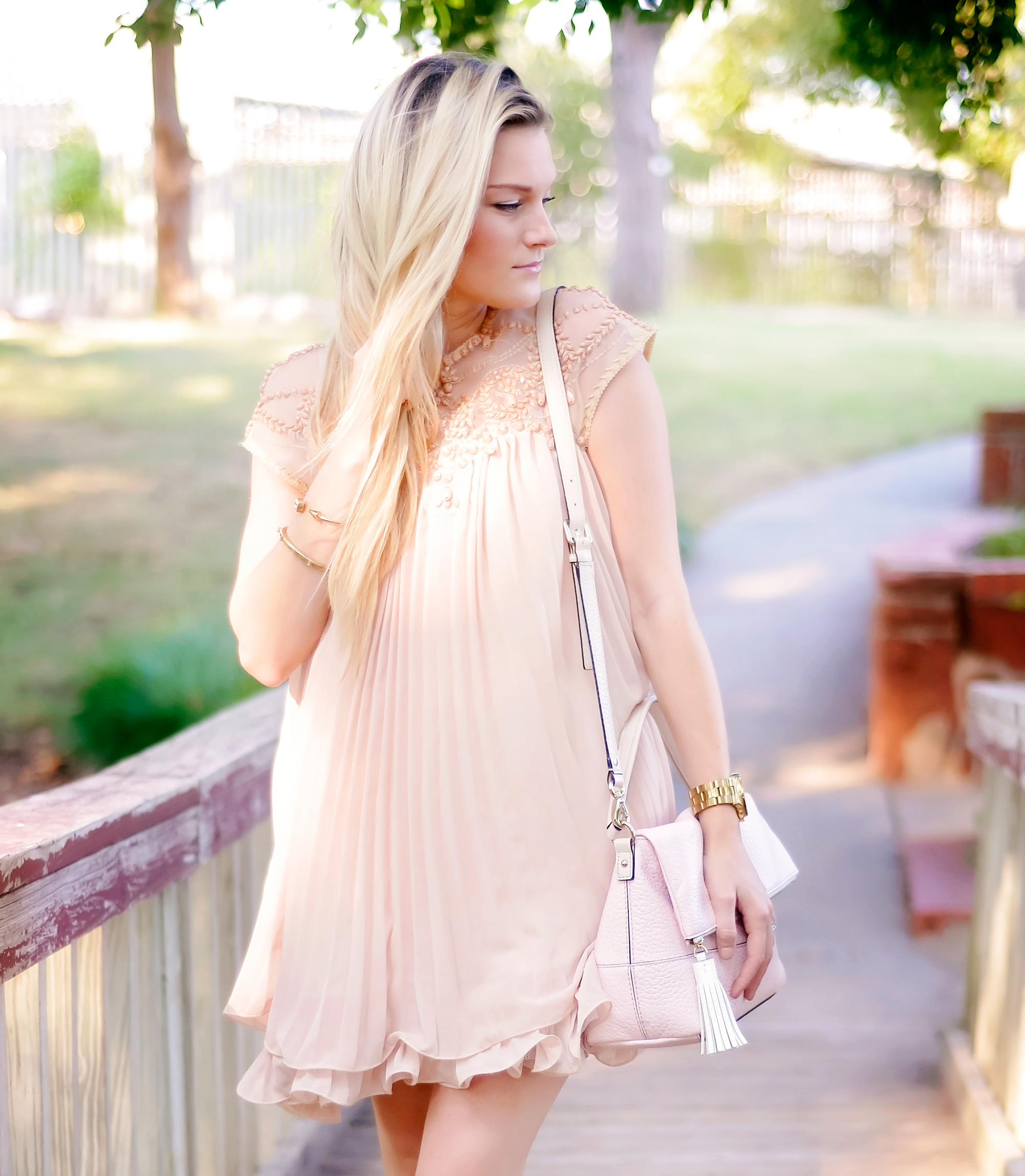 blushing in peach swing dress www.thechicblonde.com