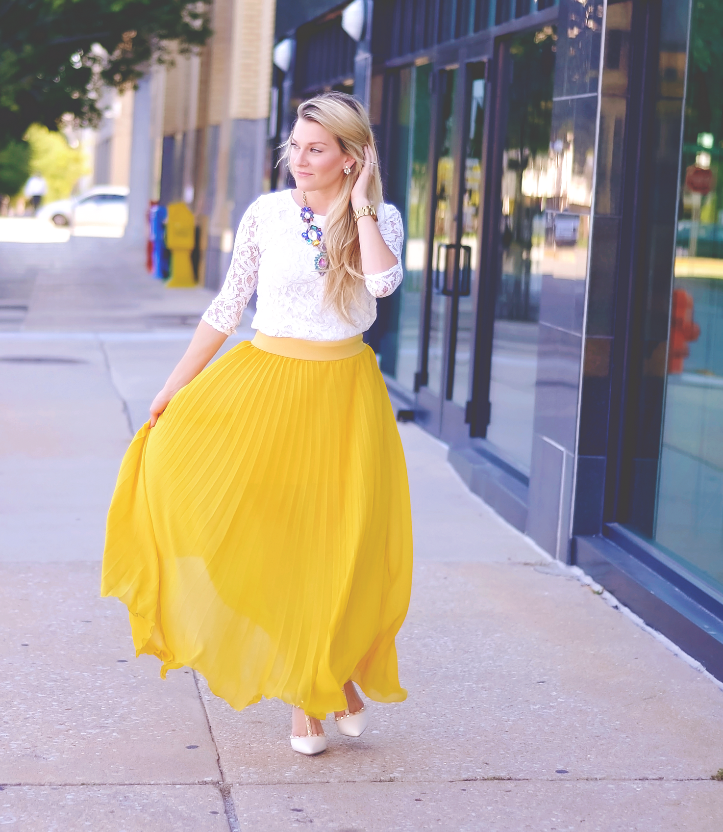 A Bit of Sunshine { Yellow Pleated Skirt }