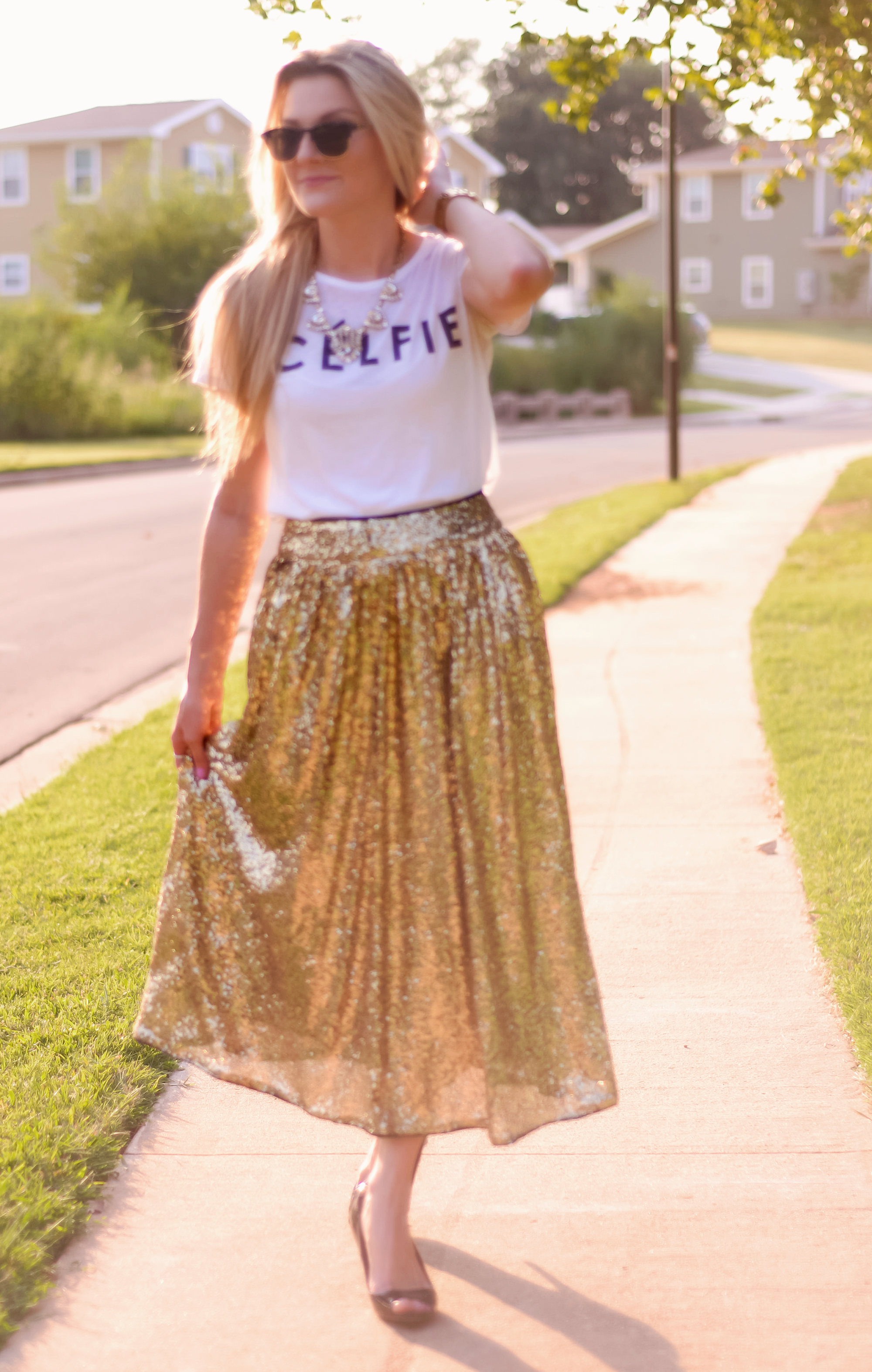 Twirling in Gold Sequins