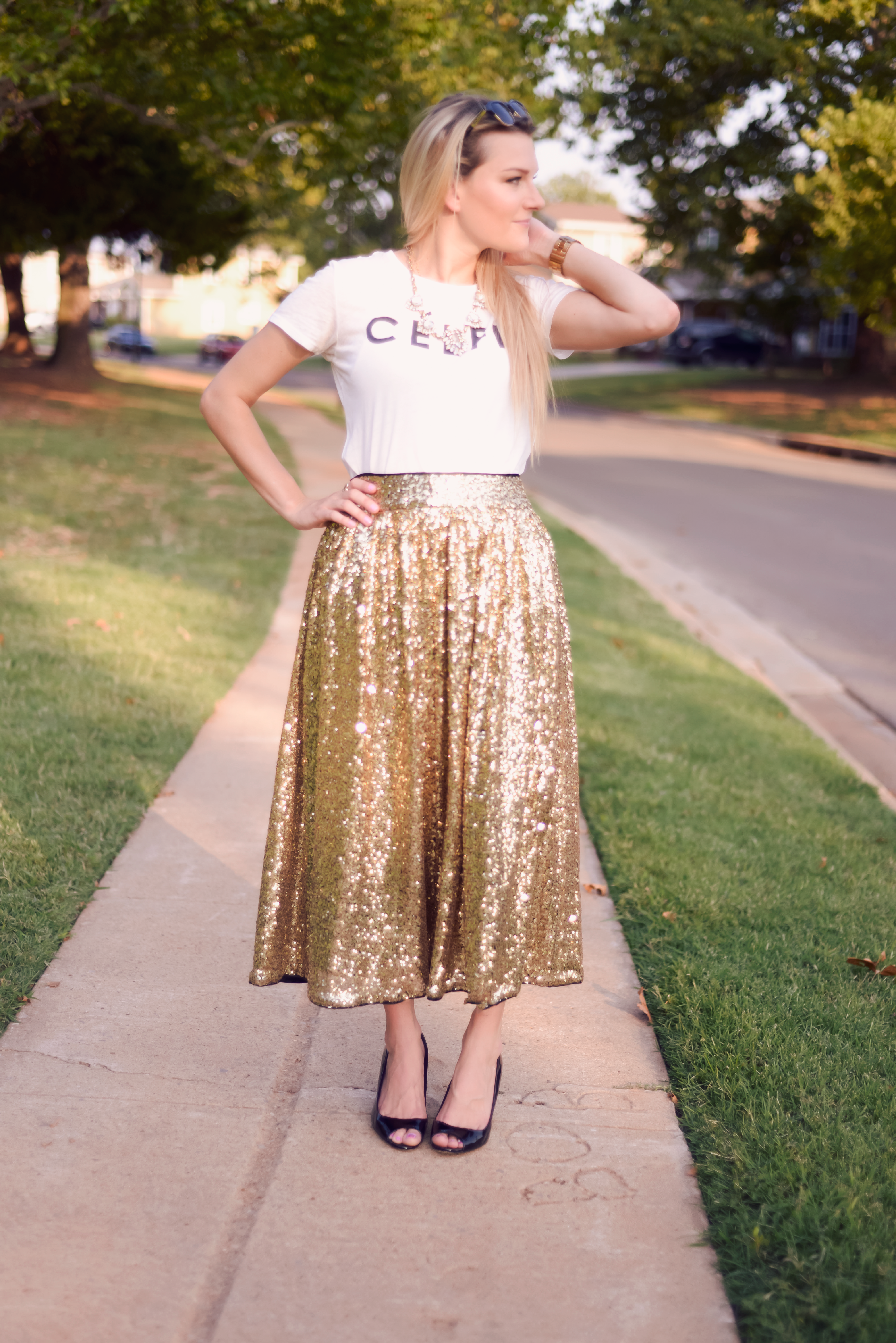 Glam Gold Sequin Midi Skirt ||  The Chic Blonde