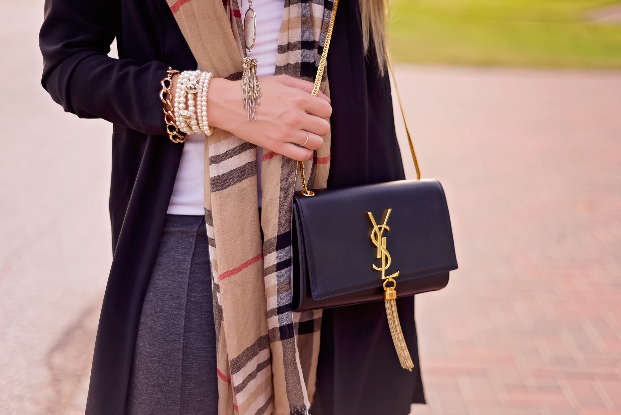 Designer plaid and bags { featuring ysl and burberry }
