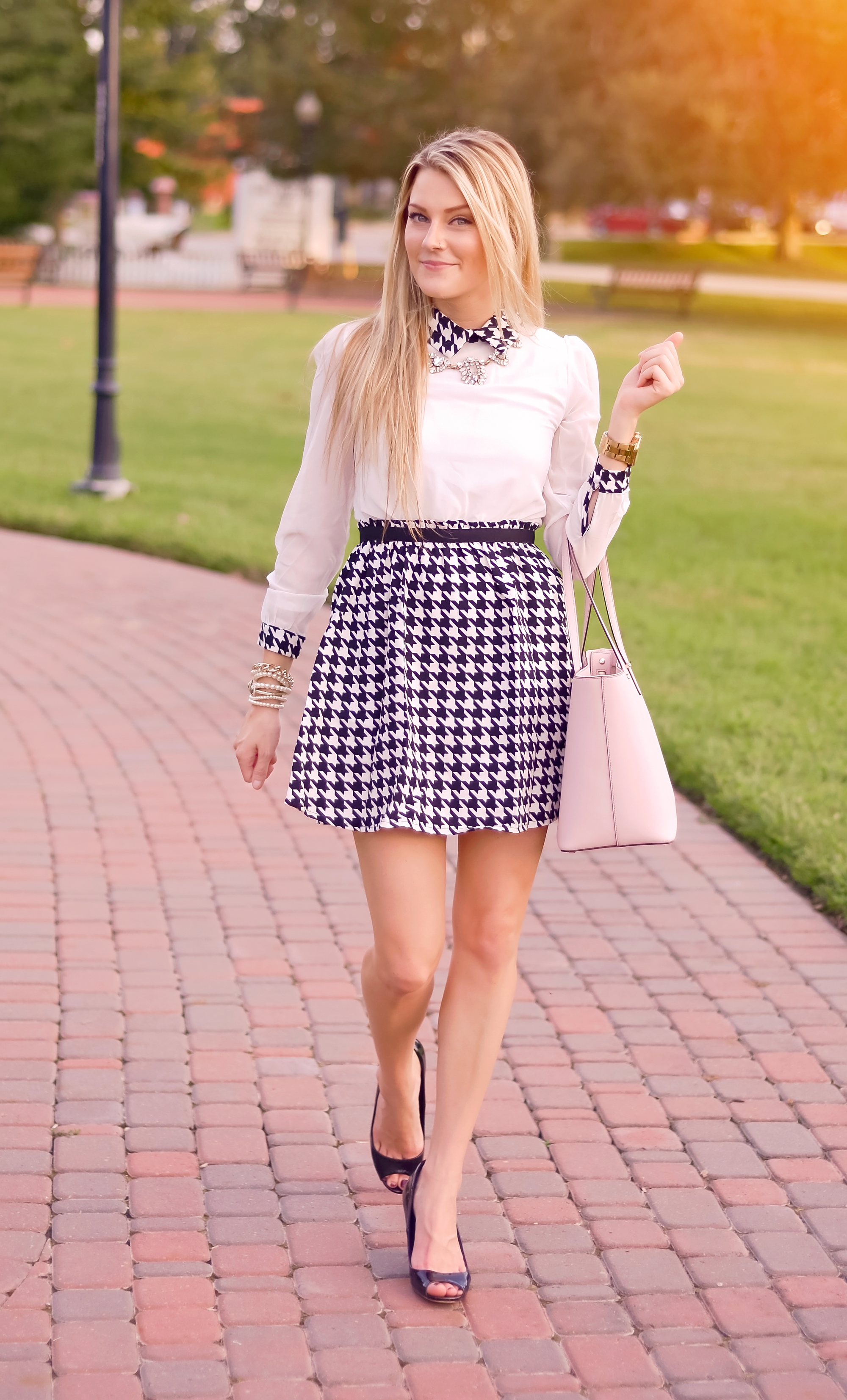 A Houndstooth Dress || Featuring Romwe Fashion