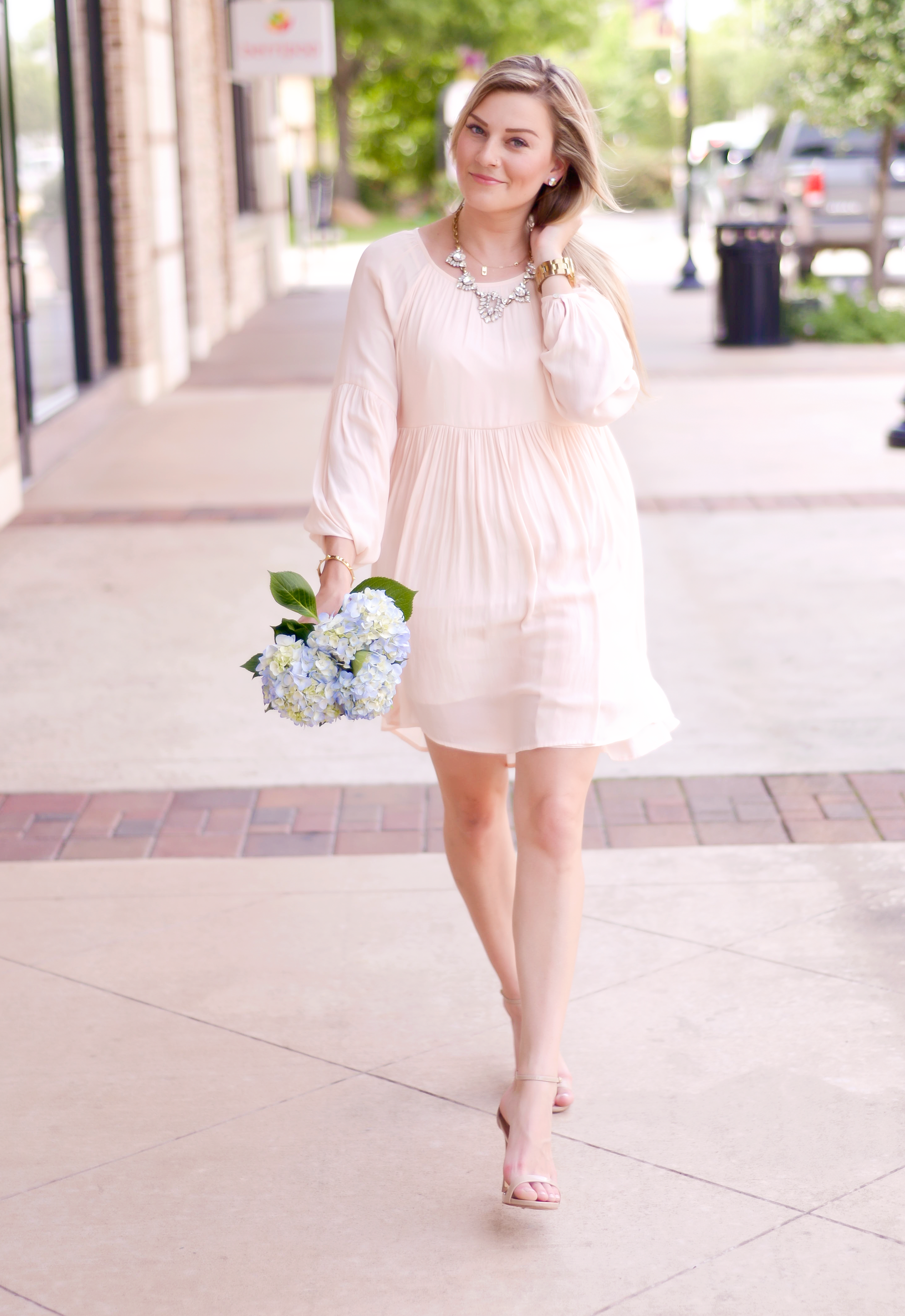 The sweetest baby pink Baby Doll Style dress